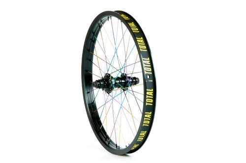 Total BMX Techfire Cassette Rear Wheel - Black With Rainbow Spokes 9 Tooth